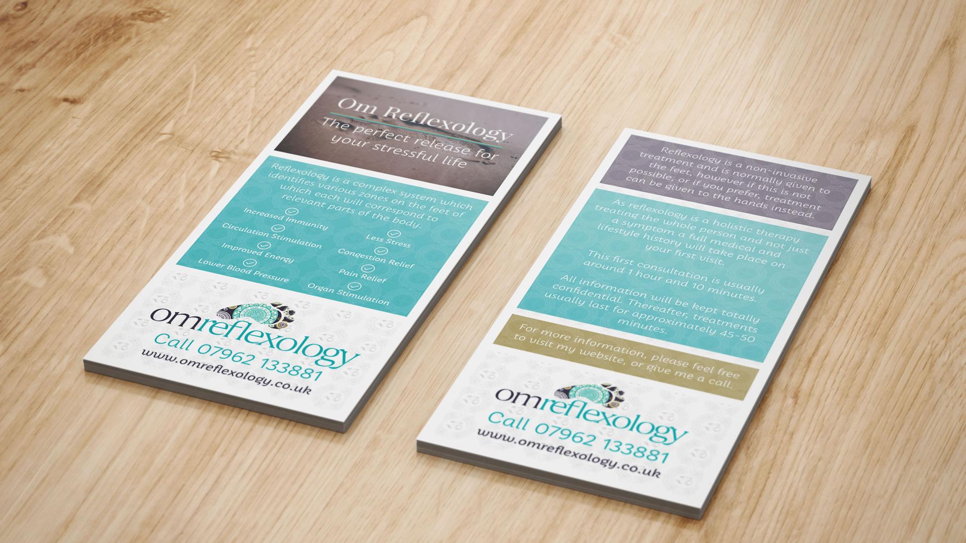 Om Reflexology Leaflet Design Paphos Cyprus